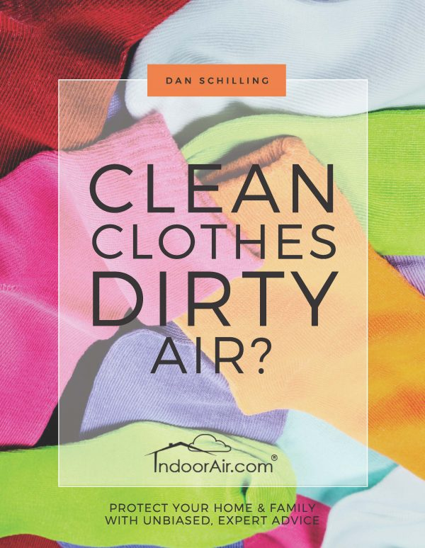 Cover of book titled Clean Clothes – Dirty Air that teaches what causes a smelly washer and laundry odor, and how it contributes to health issues
