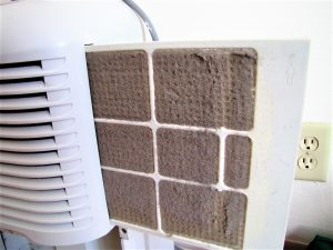 Dehumidifier dust screen filter hidden inside and plugged up