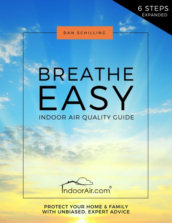 Book cover for Breathe Easy Indoor Air Quality Guide that helps people alleviate and prevent sinus infection, headaches, black mold exposure, allergy symptoms and asthma symptoms